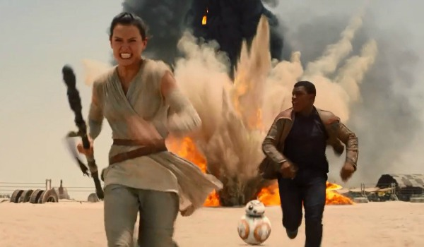 Rey and Finn in The Force Awakens