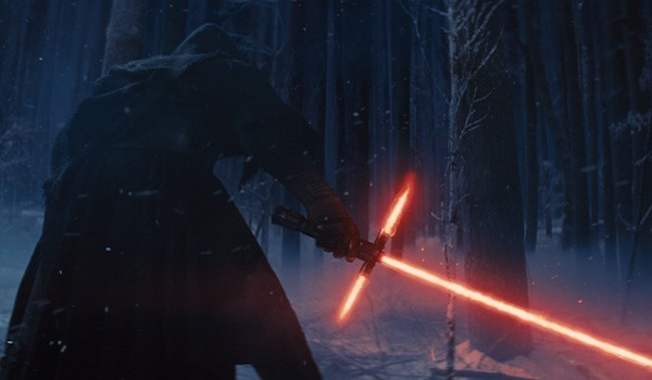Kylo Ren with lightsaber the force awakens