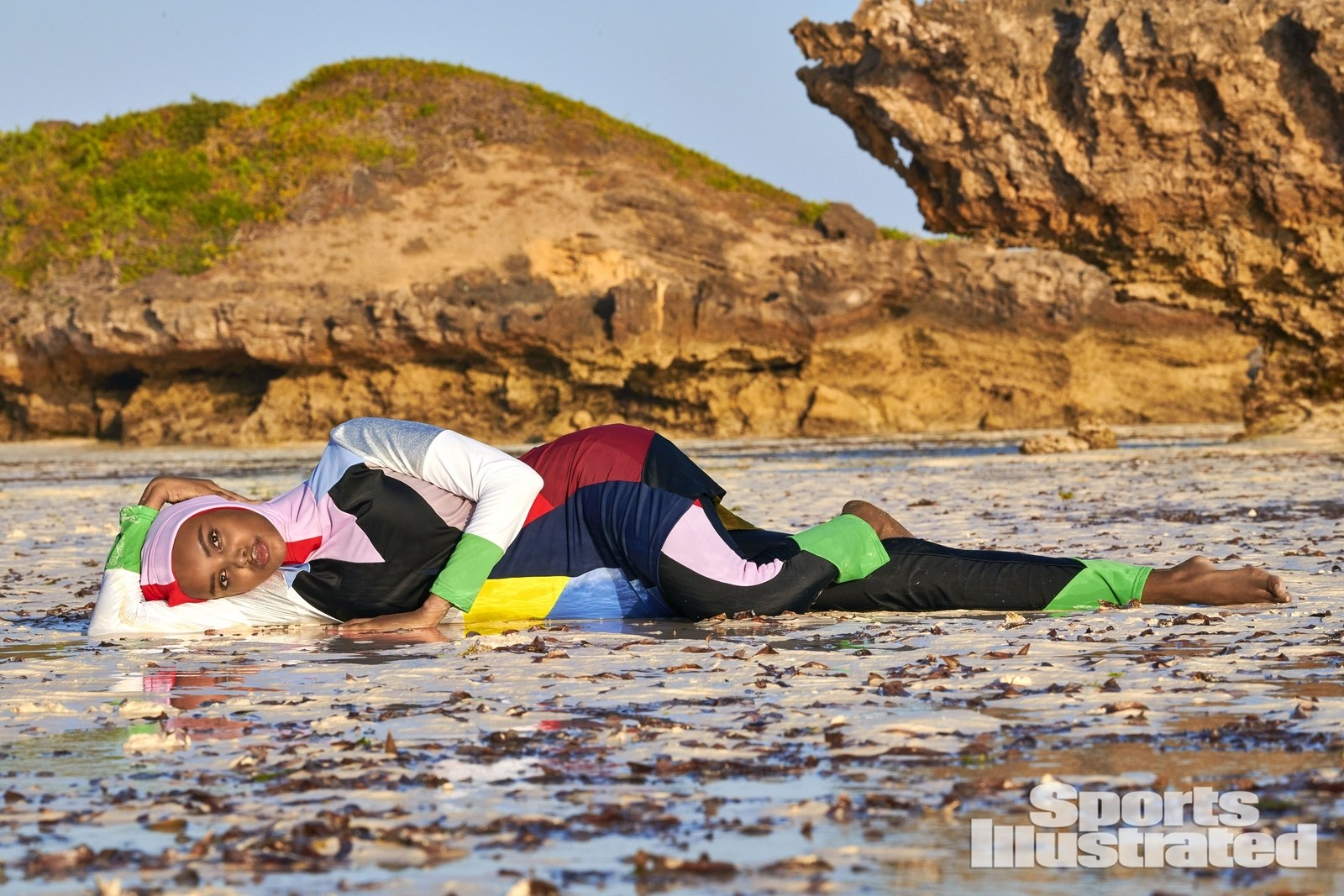 Halima Aden wearing a Cynthia Rowley Burkini in Sports Illustrated