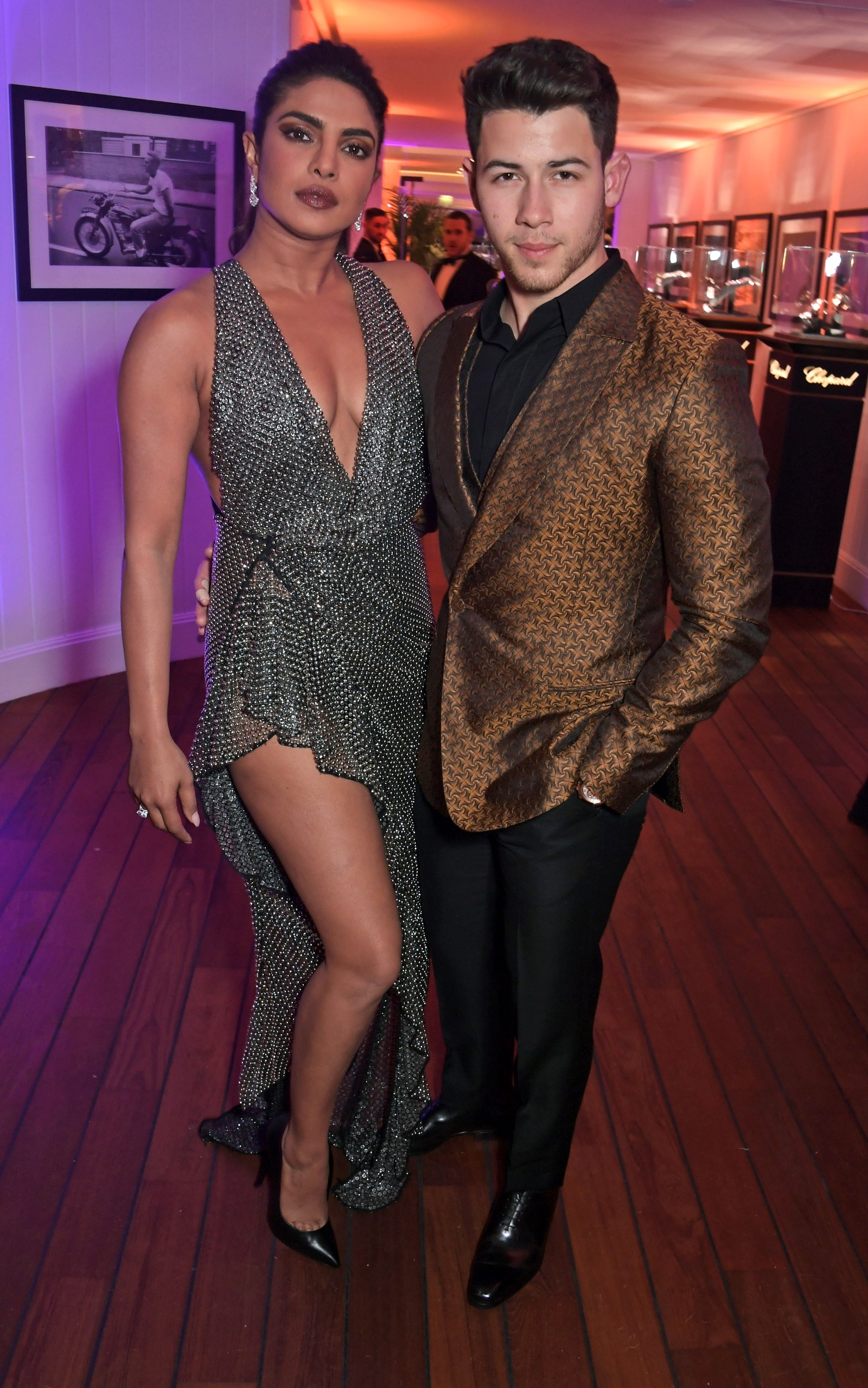Priyanka Chopra and Nick Jonas attend the Vanity Fair and Chopard Party celebrating the 72nd Annual Cannes Film Festival...