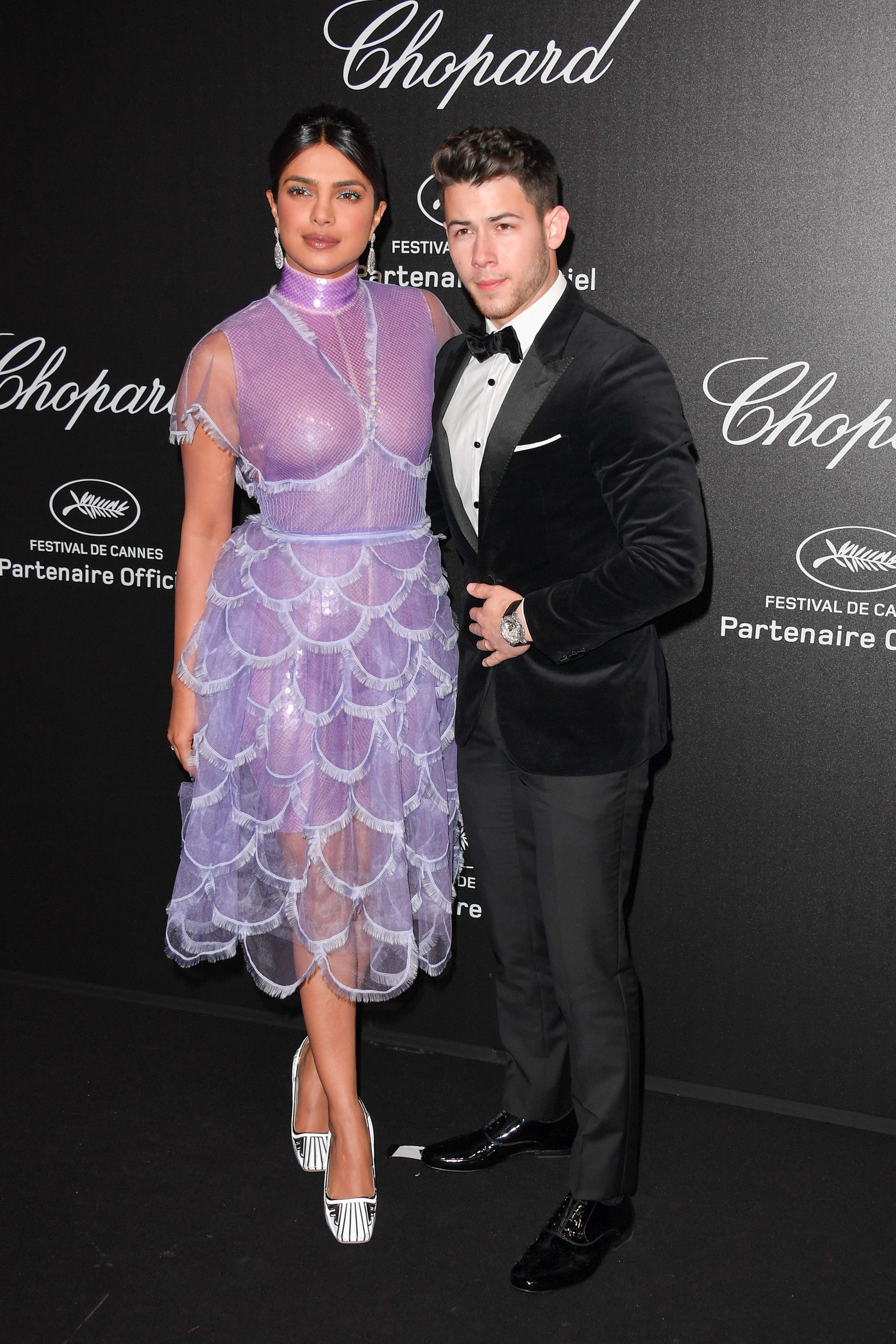 Priyanka Chopra and Nick Jonas attend the Chopard Party during the 72nd annual Cannes Film Festival on May 17 2019 in...