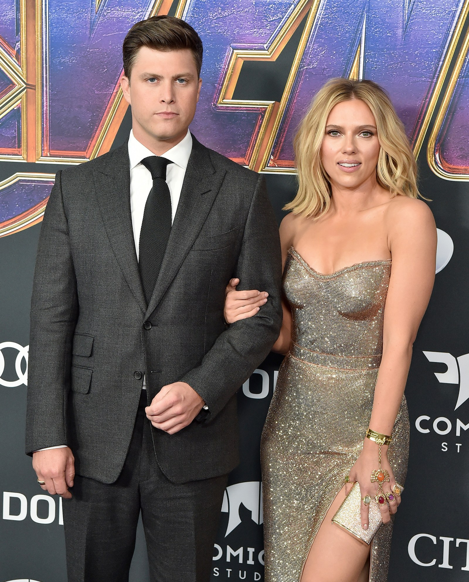 Colin Jost and Scarlett Johansson at the Avengers Endgame premiere in 2019.