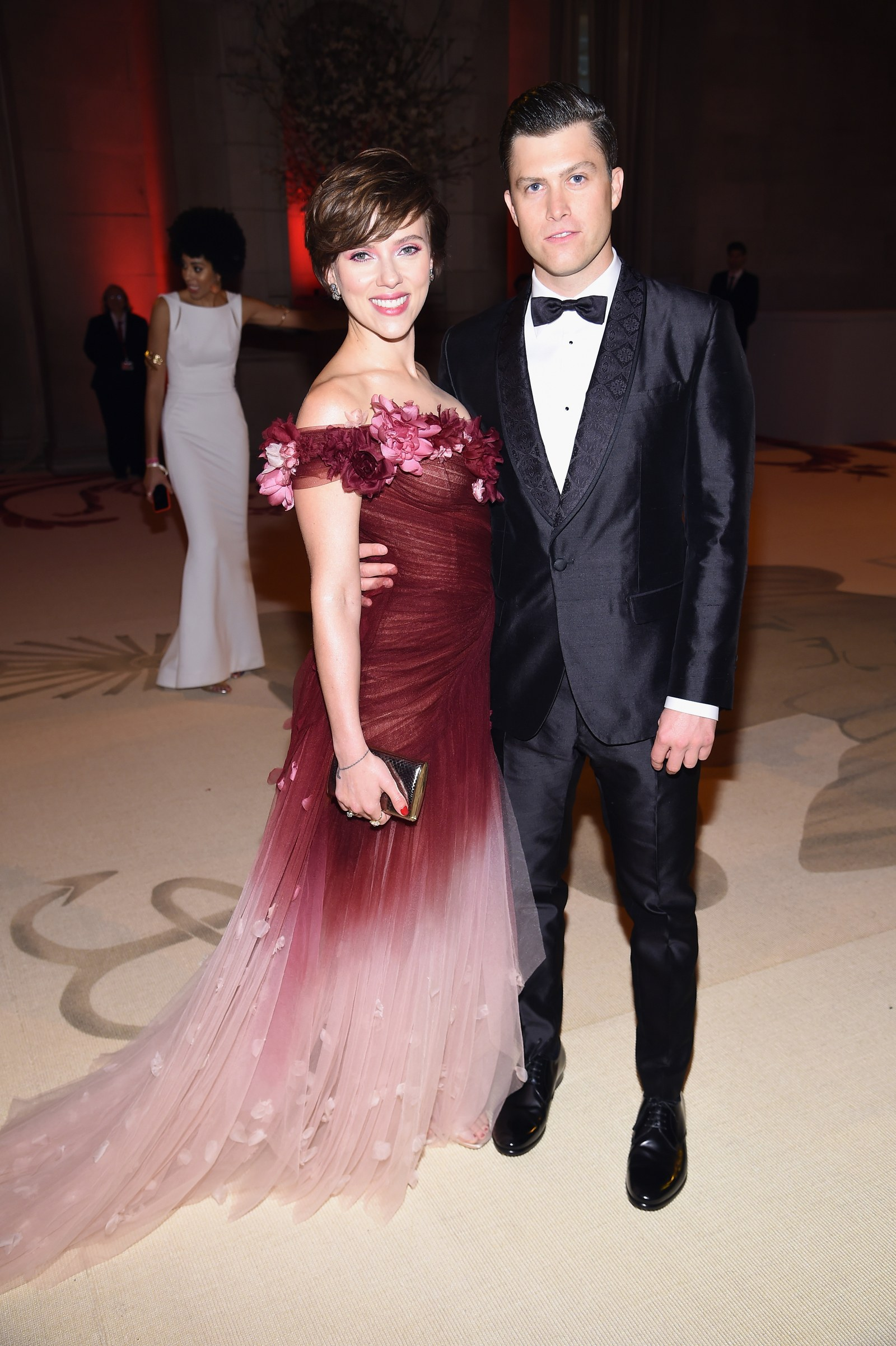 Scarlett Johansson and Colin Jost attend the Heavenly Bodies Fashion The Catholic Imagination Costume Institute Gala at...