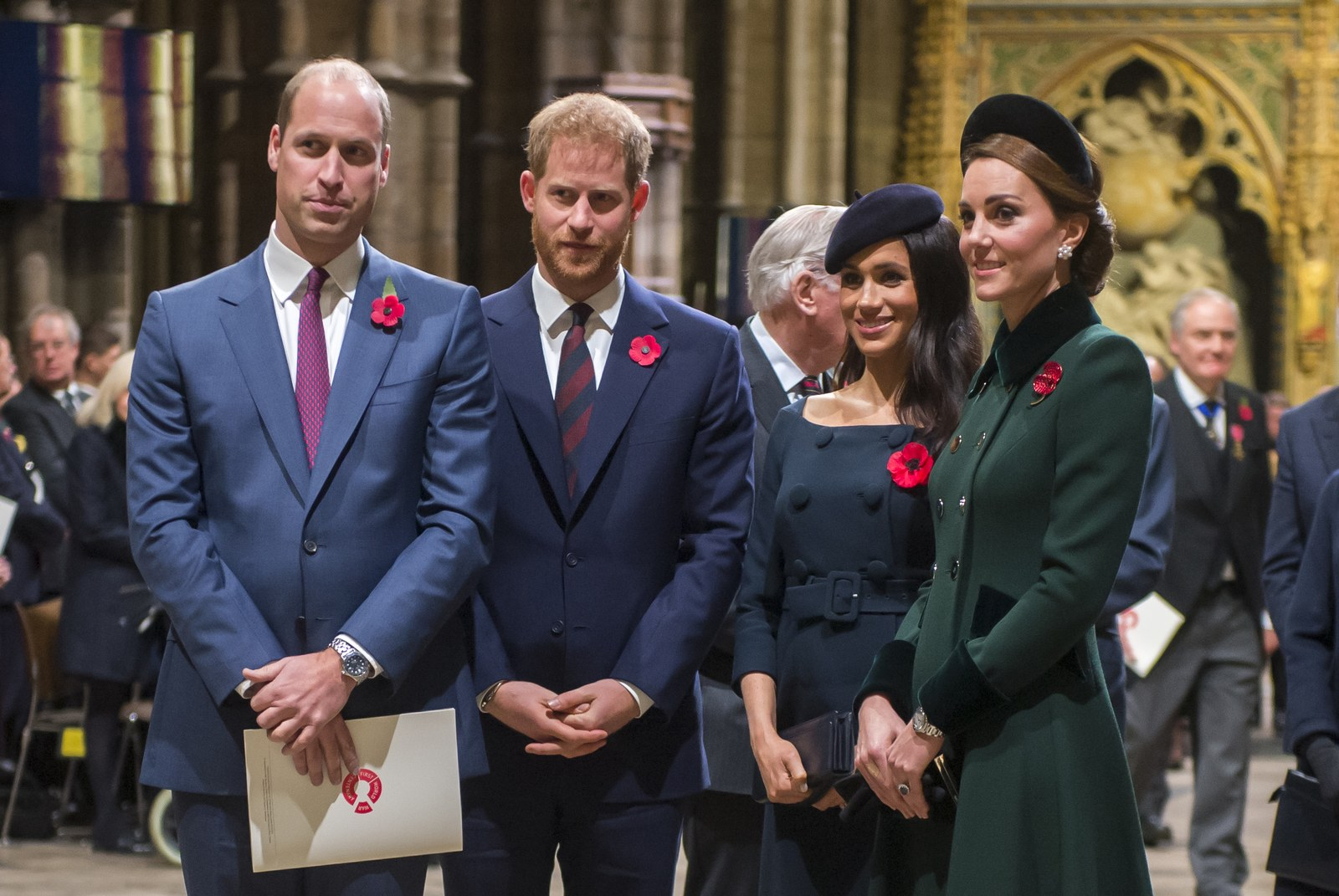 Prince William Prince Harry Meghan Markle and Kate Middleton at a service at Westminster Abbey in November 2018.