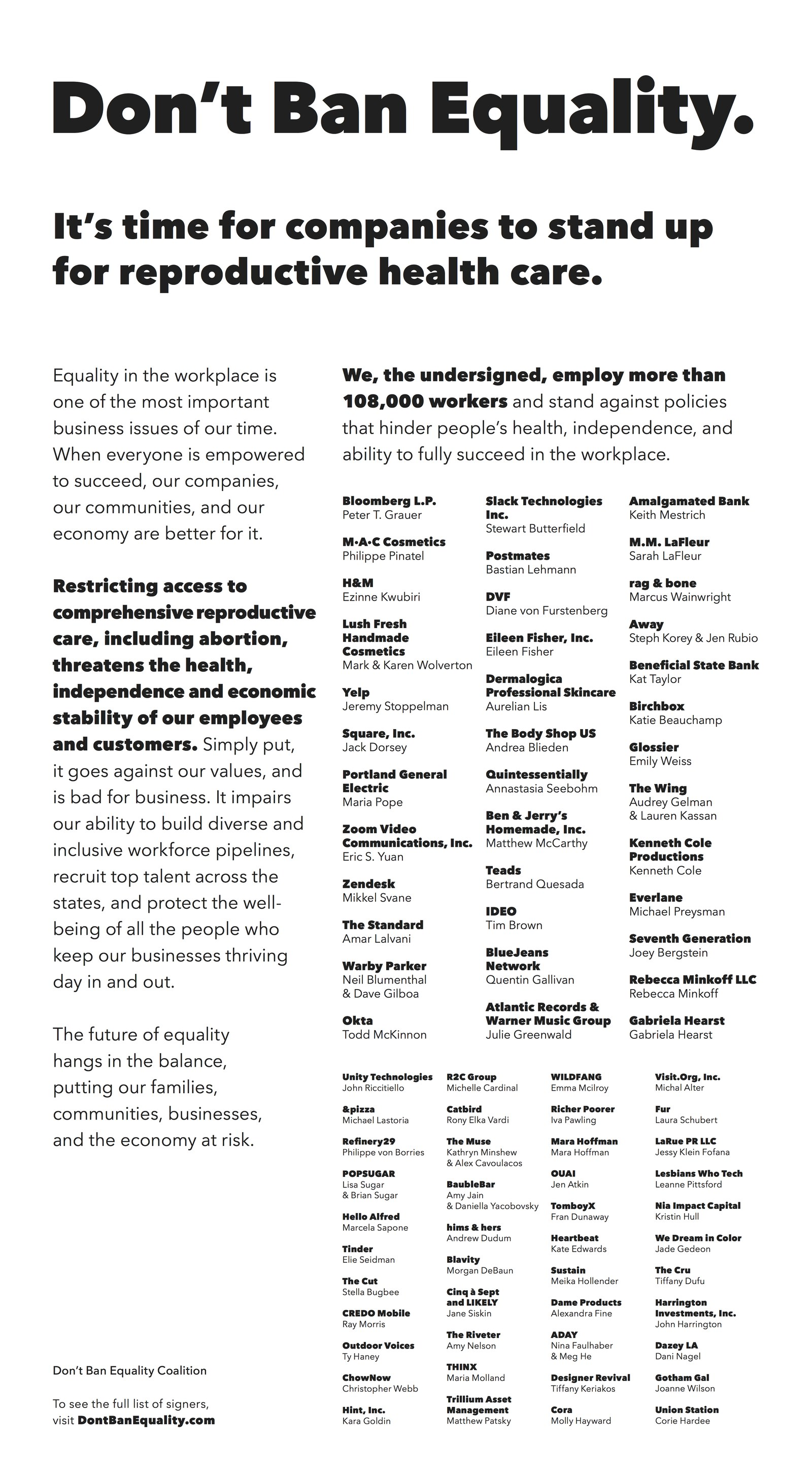 NYT Don't Ban Equality ad.