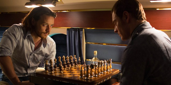 James McAvoy and Michael Fassbender as Professor X and Magneto playing chess in X-Men: Days of Futur