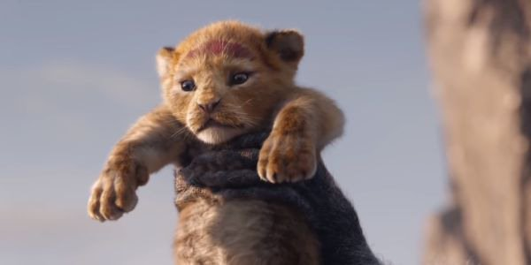 baby Simba being held up in The Lion King