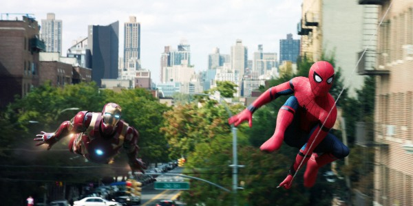 Spider-Man: Homecoming Iron Man and Spider-Man fly through the city