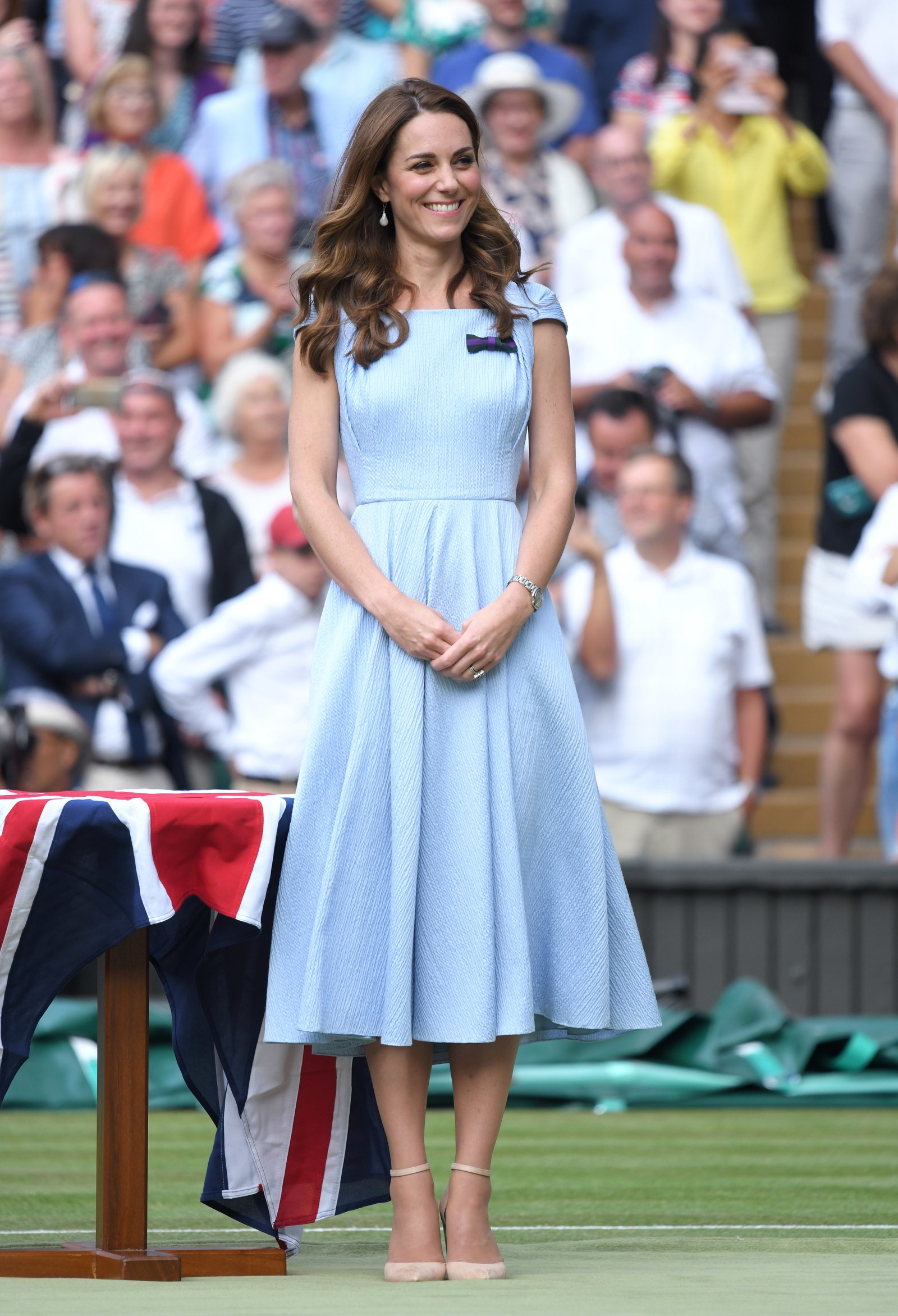 Kate Middleton on Centre court during Men's Finals Day of the Wimbledon