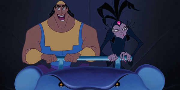 Kronk and Yzma in Emperor's New Groove rollercoaster to evil lab