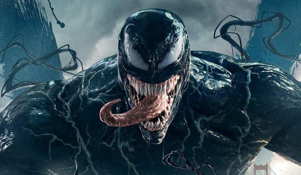 Venom looming front and center, tongue sticking out