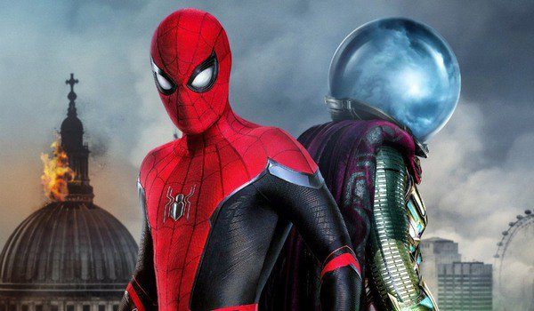 Spider-Man: Far From Home Spidey and Mysterio stand back to back in London