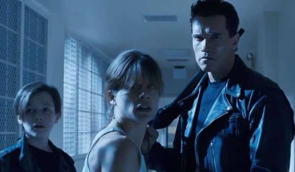 Terminator 2: Judgement Day John Connor, Sarah Connor, and the T-800 stop and stare