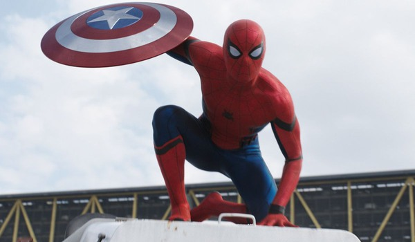 Captain America: Civil War Spider-Man perched with Cap's shield