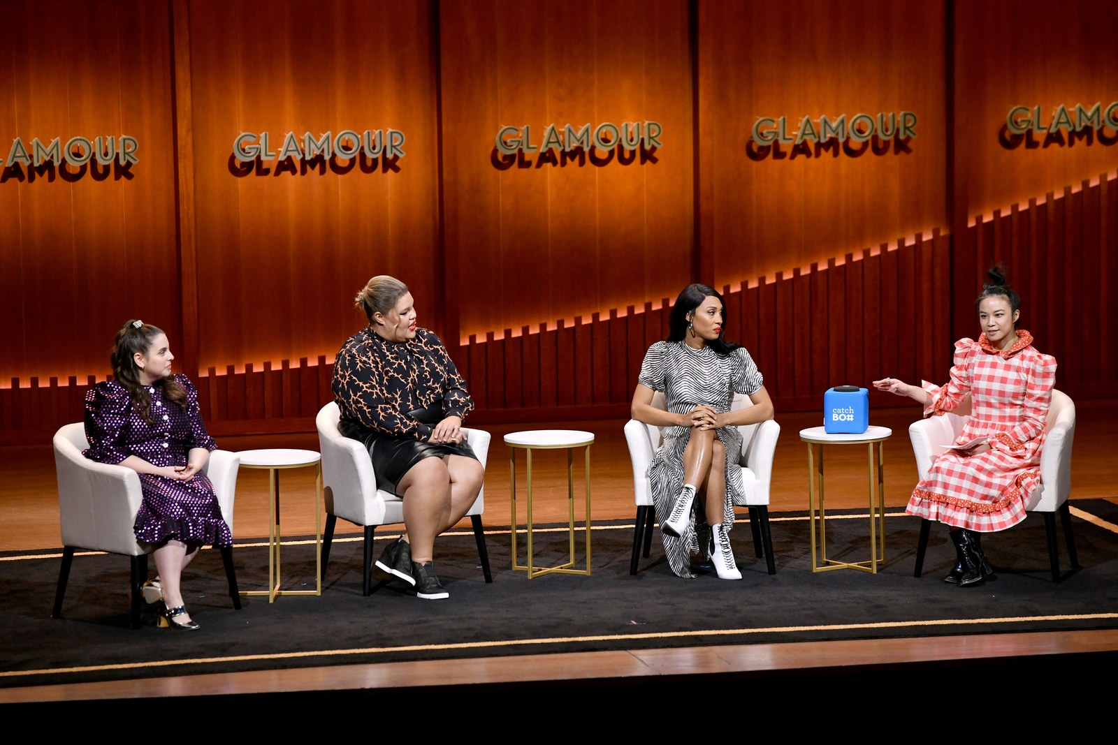 Beanie Feldstein Britney Young MJ Rodriguez and Estelle Tang speak onstage during the We Are All Leading Ladies panel at...