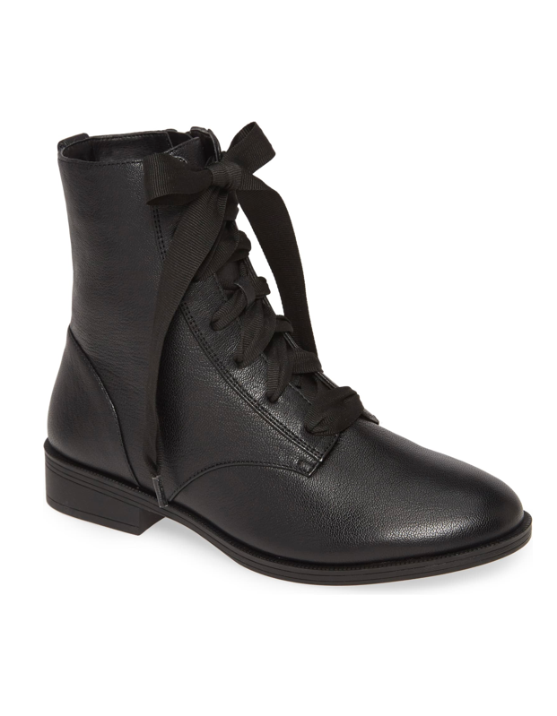 black combat boots with thick shoelaces