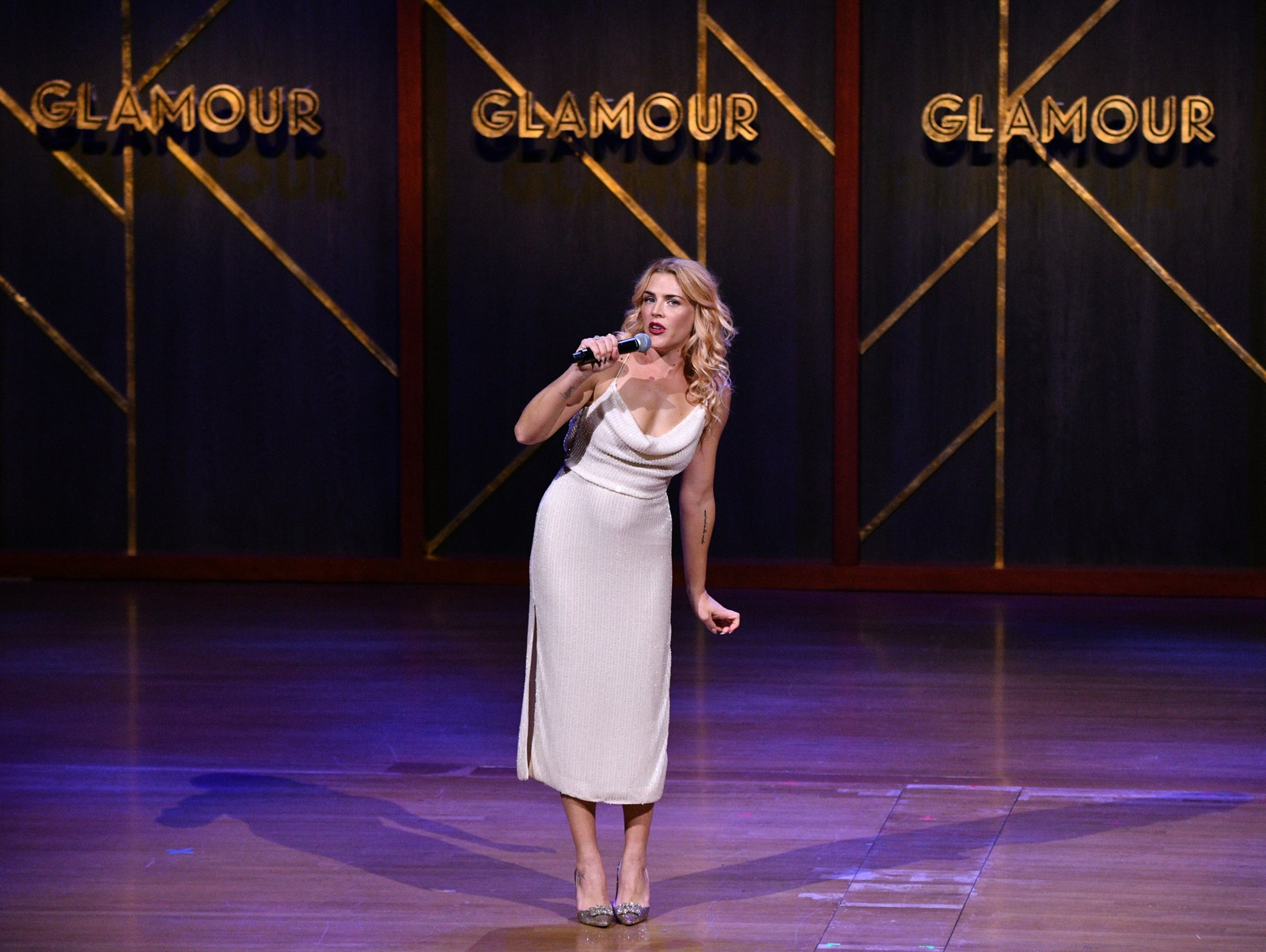 Busy Phillipps speaks onstage at the 2019 Glamour Women Of The Year Awards