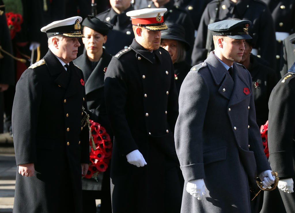 pPrince Andrew Prince Harry and Prince William at Cenotaph service.p