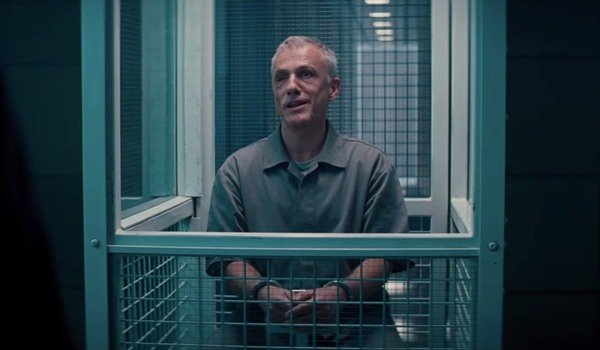 No Time To Die Blofeld taunts James . Bond from his cage