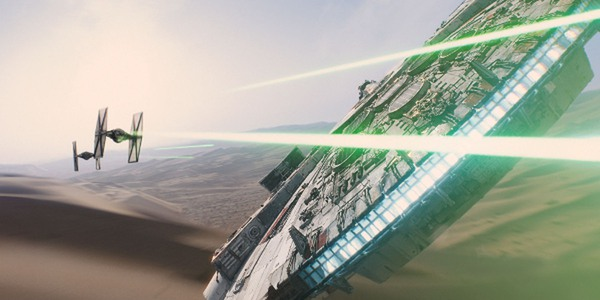 The Milennium Falcon rides again in Star Wars: The Force Awakens