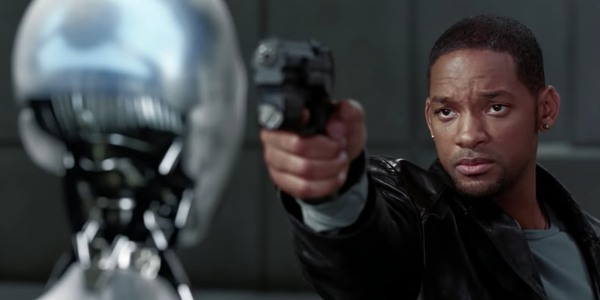 Will Smith threatens a mechanical murder suspect in I, Robot