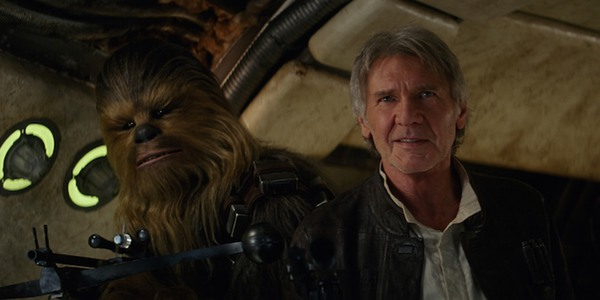 Chewbacca and Han Solo coming home to the Millennium Falcon