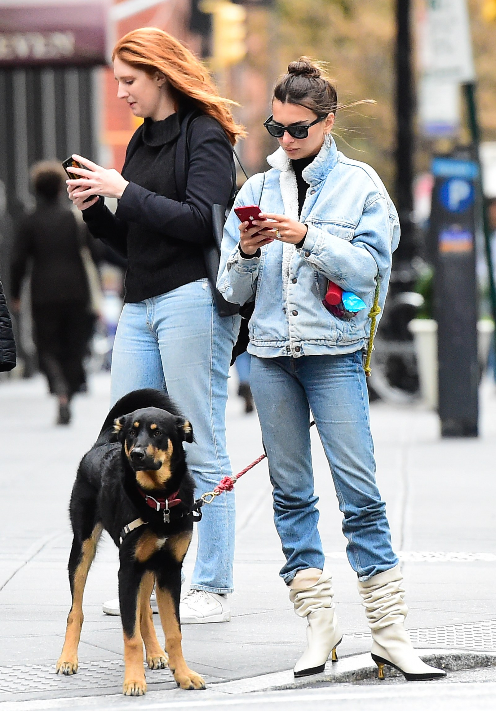 How to wear booties Emily Ratajkowski wears jeans and slouchy booties in New York City
