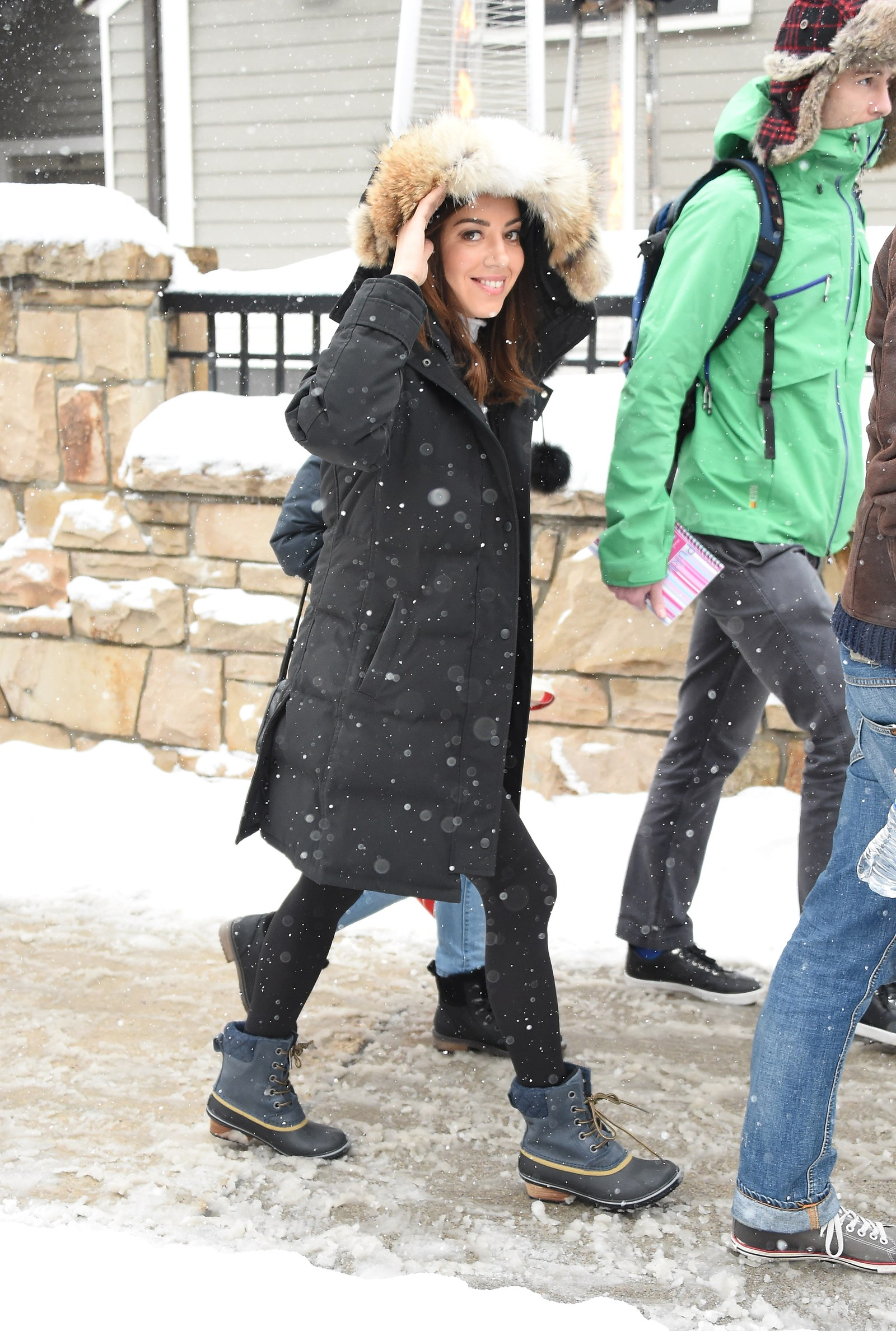 Actress Aubrey Plaza is seen in SOREL Style Around Park City Day 2 on January 20 2018 in Park City Utah.