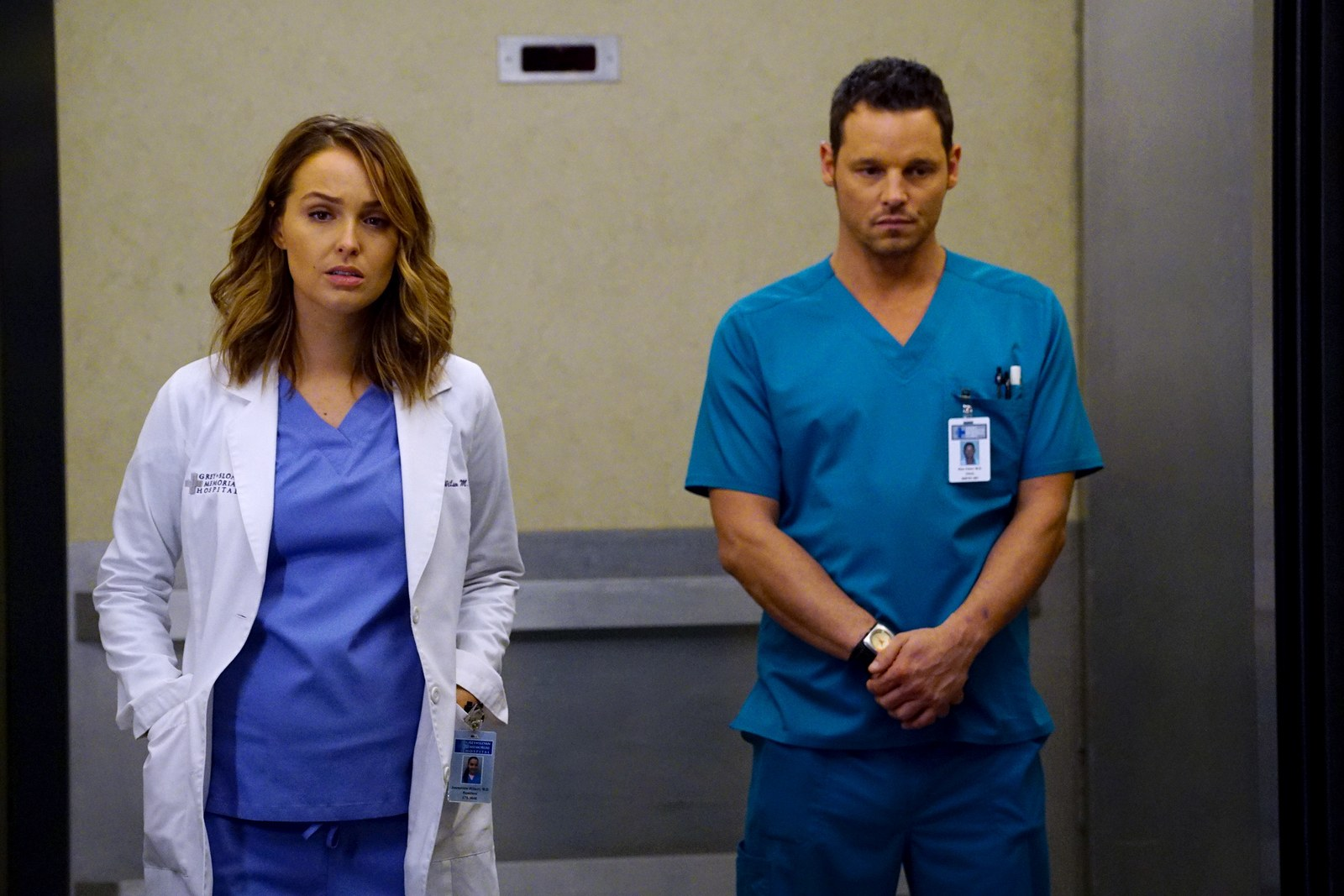 Camilla Luddington and Justin Chambers on Grey's Anatomy
