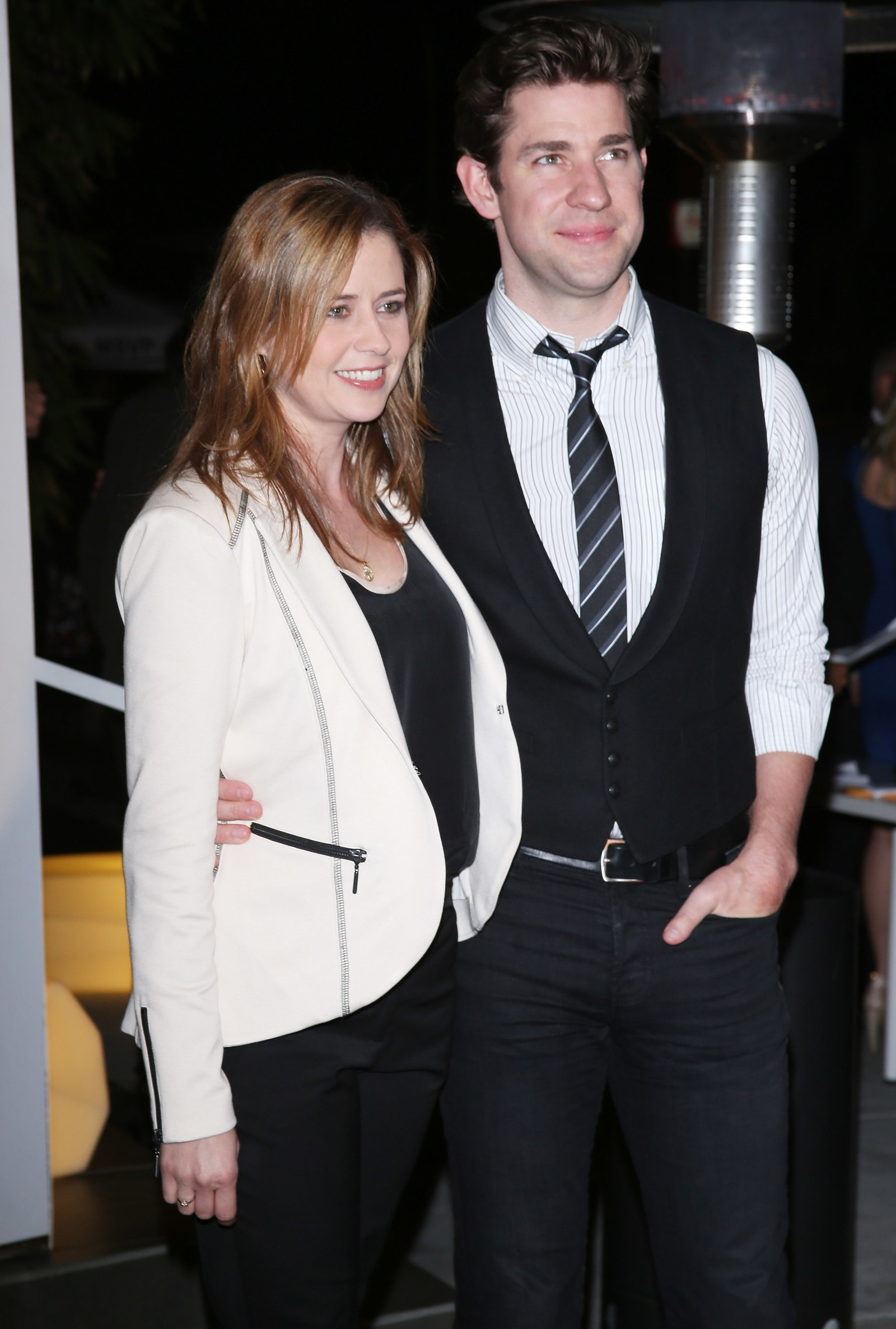 John Krasinski and Jenna Fischer arrive at The Office series finale wrap party in 2013.