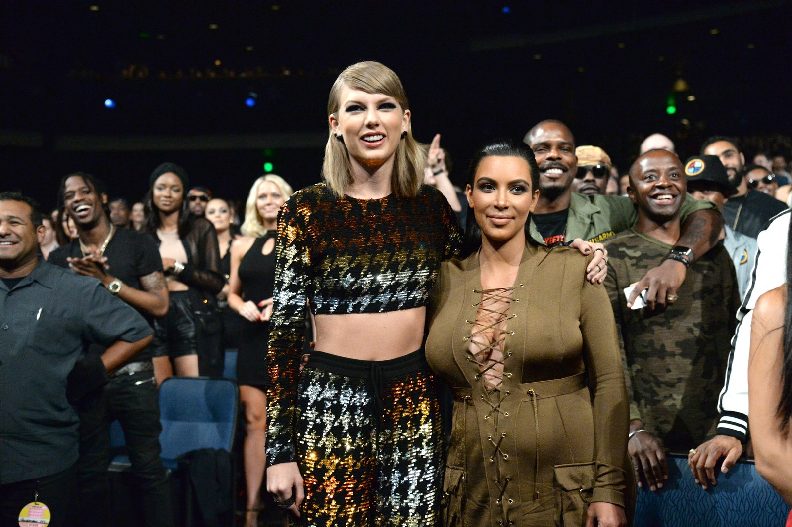 Taylor Swift and Kim Kardashian West attend the 2015 MTV Video Music Awards