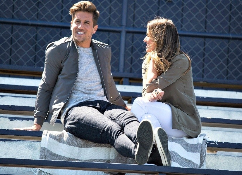 Image may contain Jordan Rodgers Clothing Apparel Human Person Pants Sitting Shoe Footwear and Furniture
