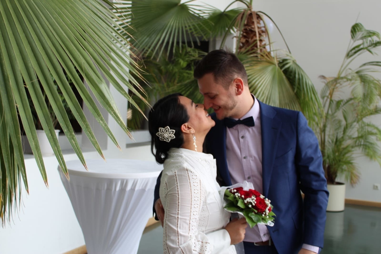 Zuniga and her husband at their civil wedding in Berlin.
