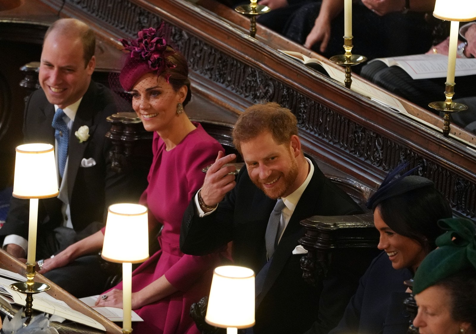 Prince William Kate Middleton Prince Harry Meghan Markle at Princess Eugenie's wedding