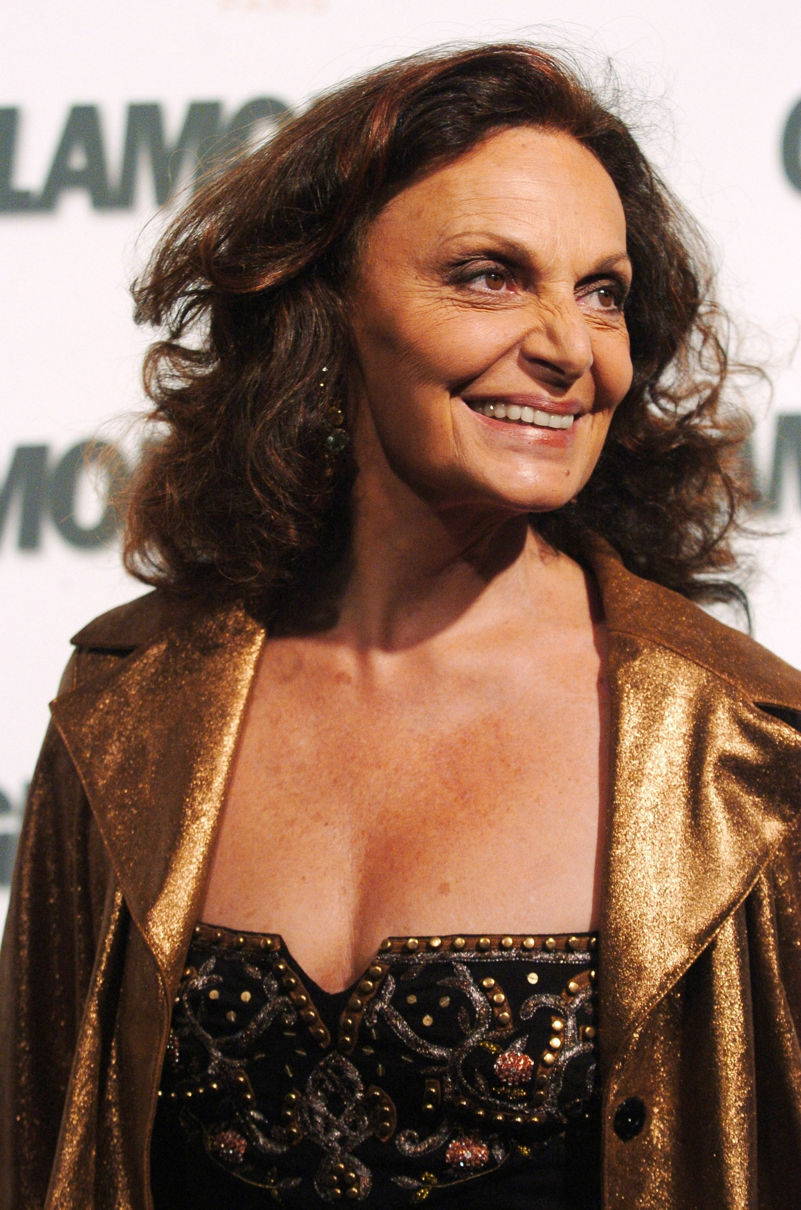 Image may contain Diane von Furstenberg Clothing Apparel Human Person Face and Fashion