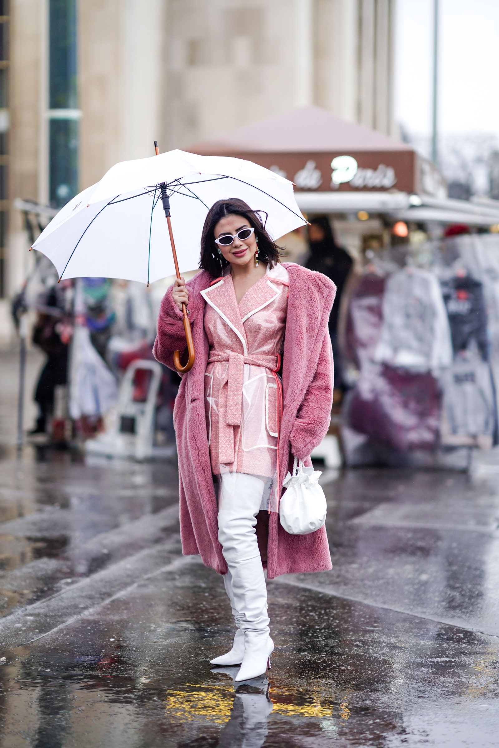 A guest wears outside Elie Saab during Paris Fashion Week