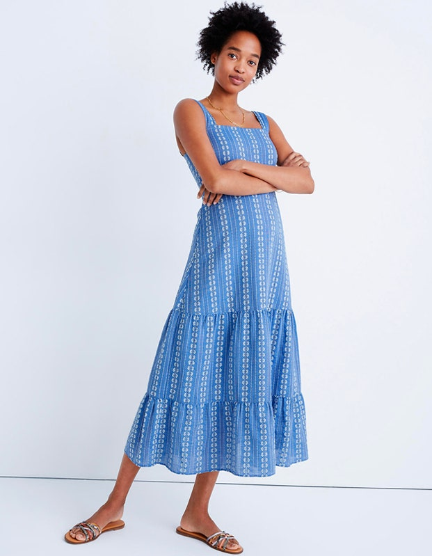 Madewell Embroidered Button-Back Tiered Sundress