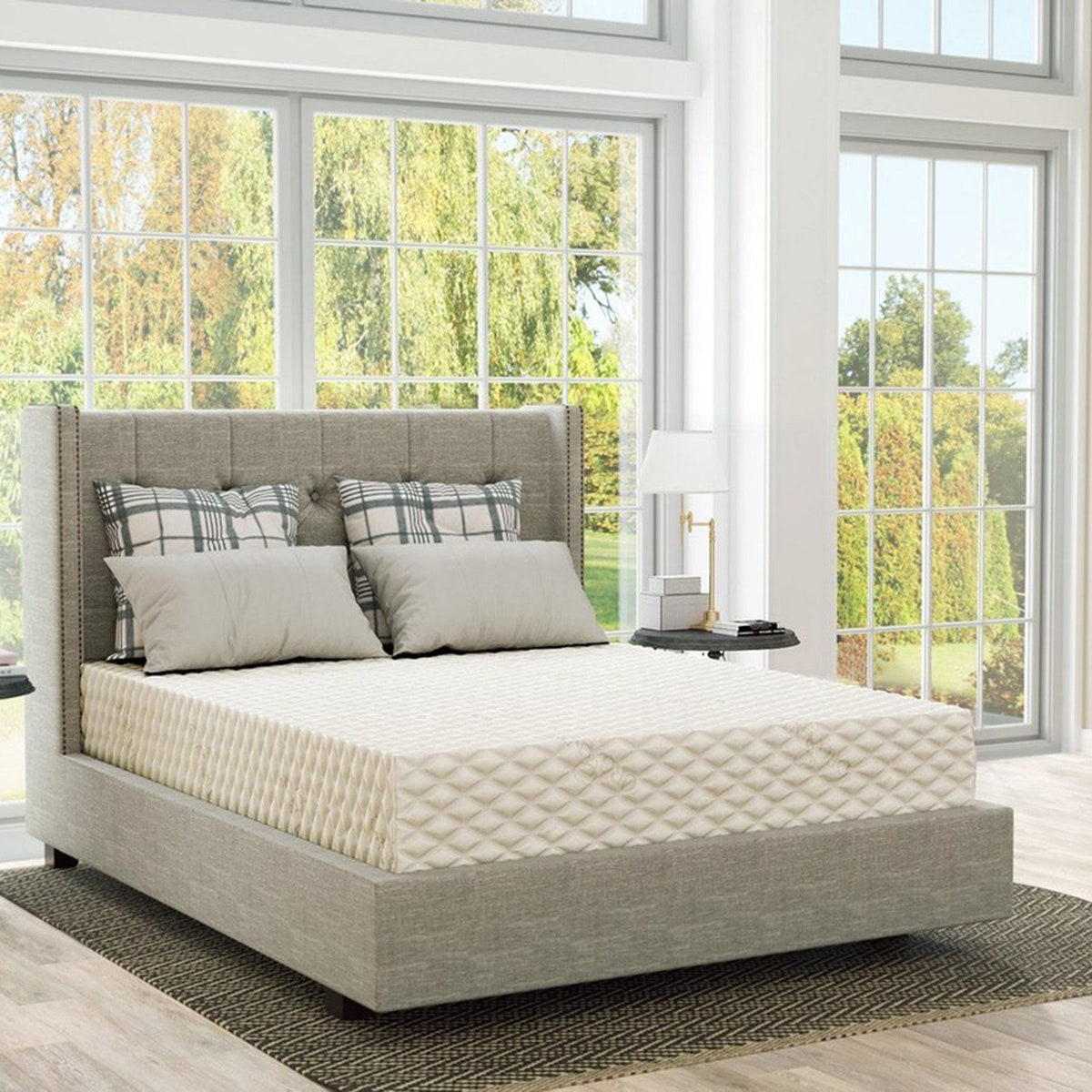 plushbeds natural latex matress _ bedroom with windows and pillows