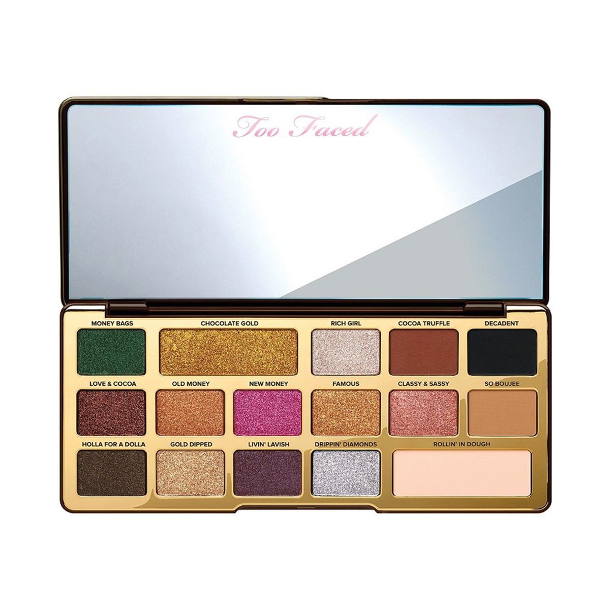 too faced eyeshadow palette with metallic and matte holiday shades