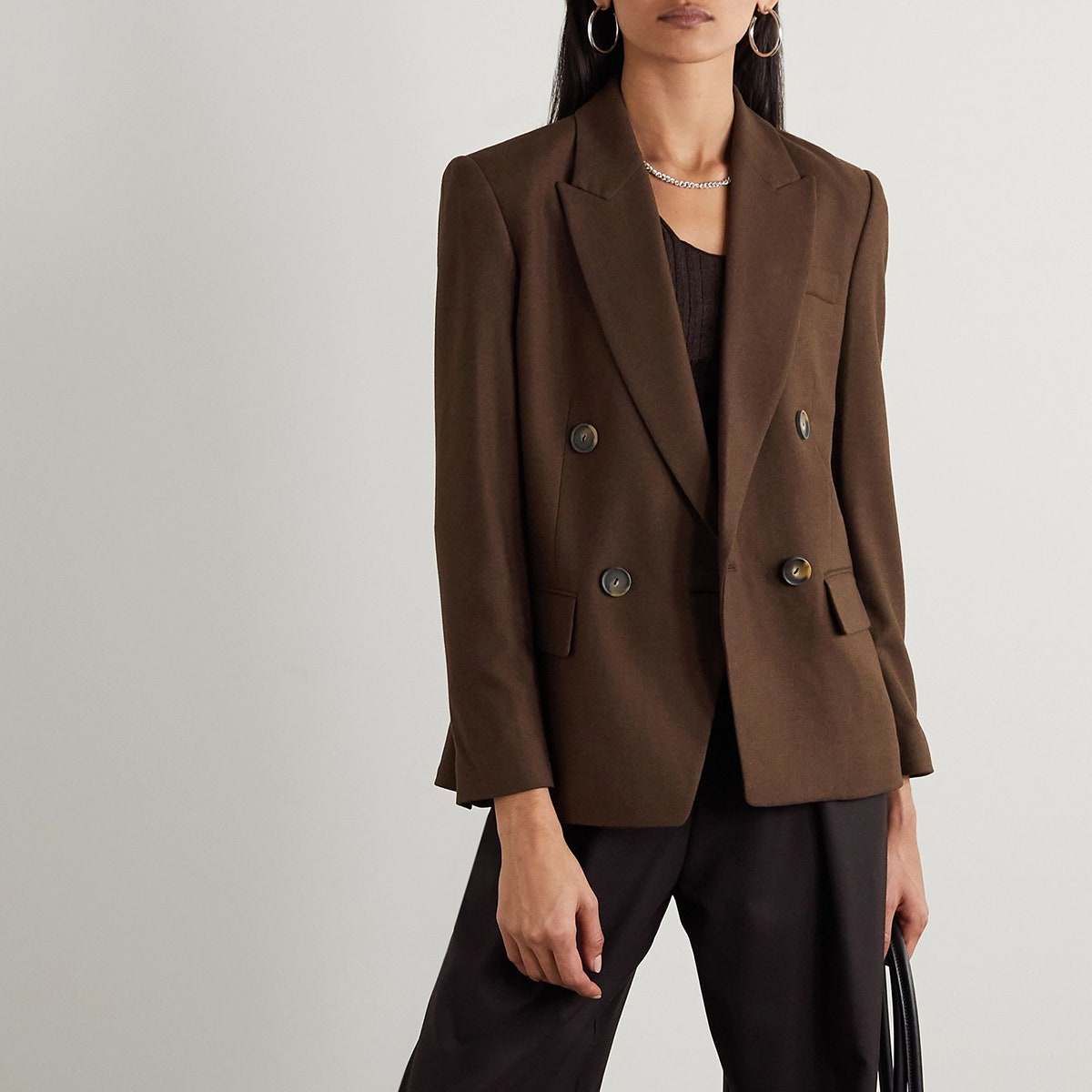 vince double breasted brown blazer
