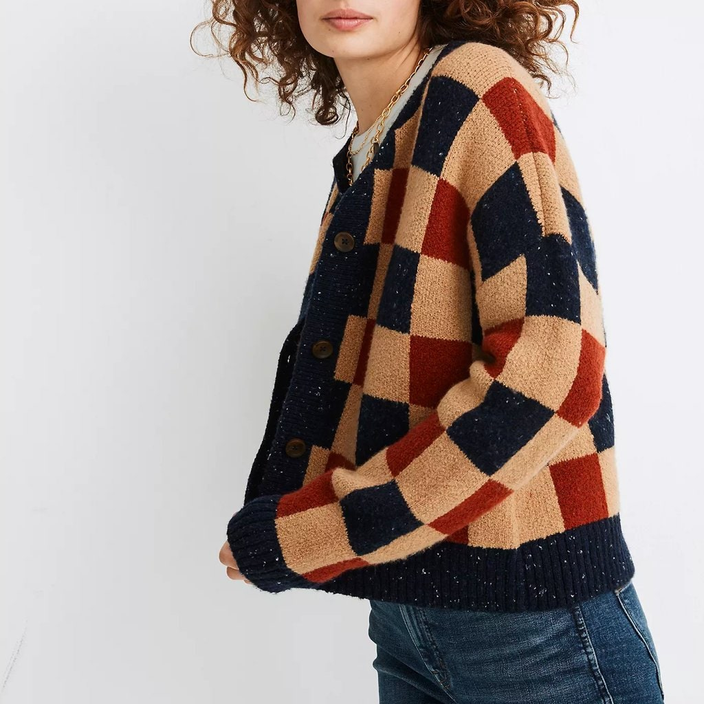 model wearing checkered sweater
