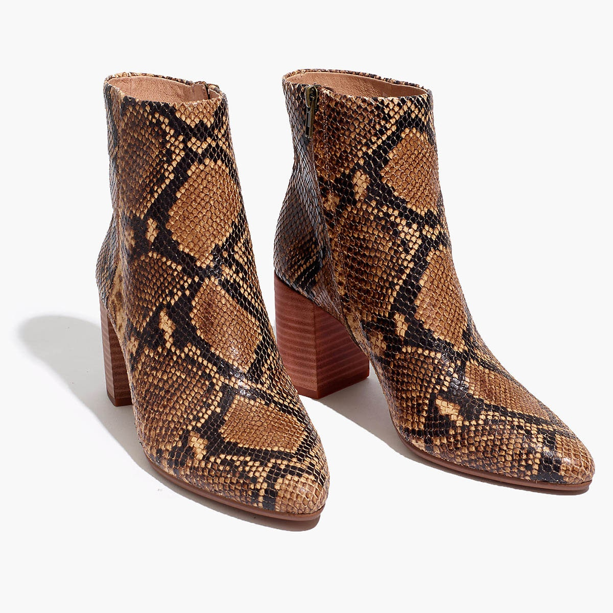 brown snakeskin ankle boots