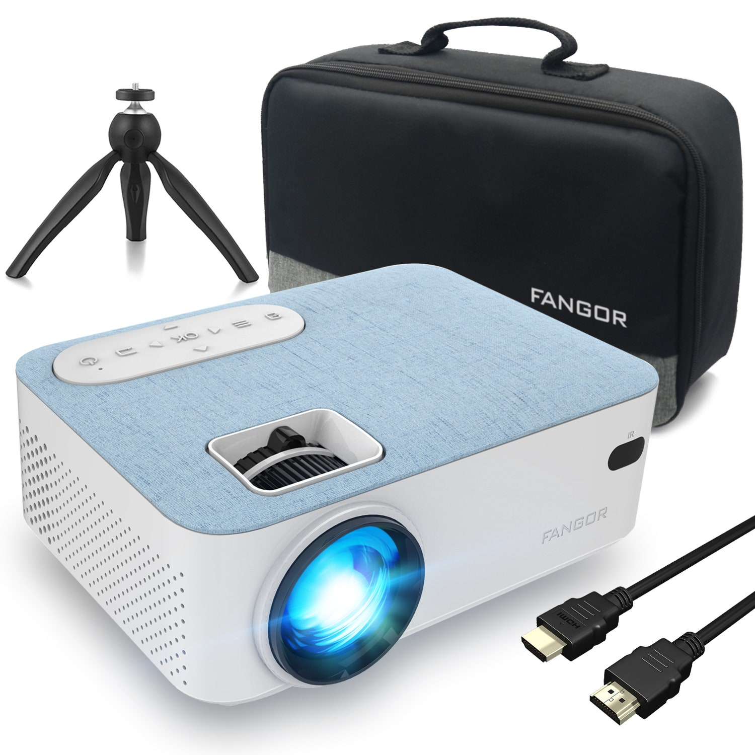 white bluetooth projector with cables carrier and stand