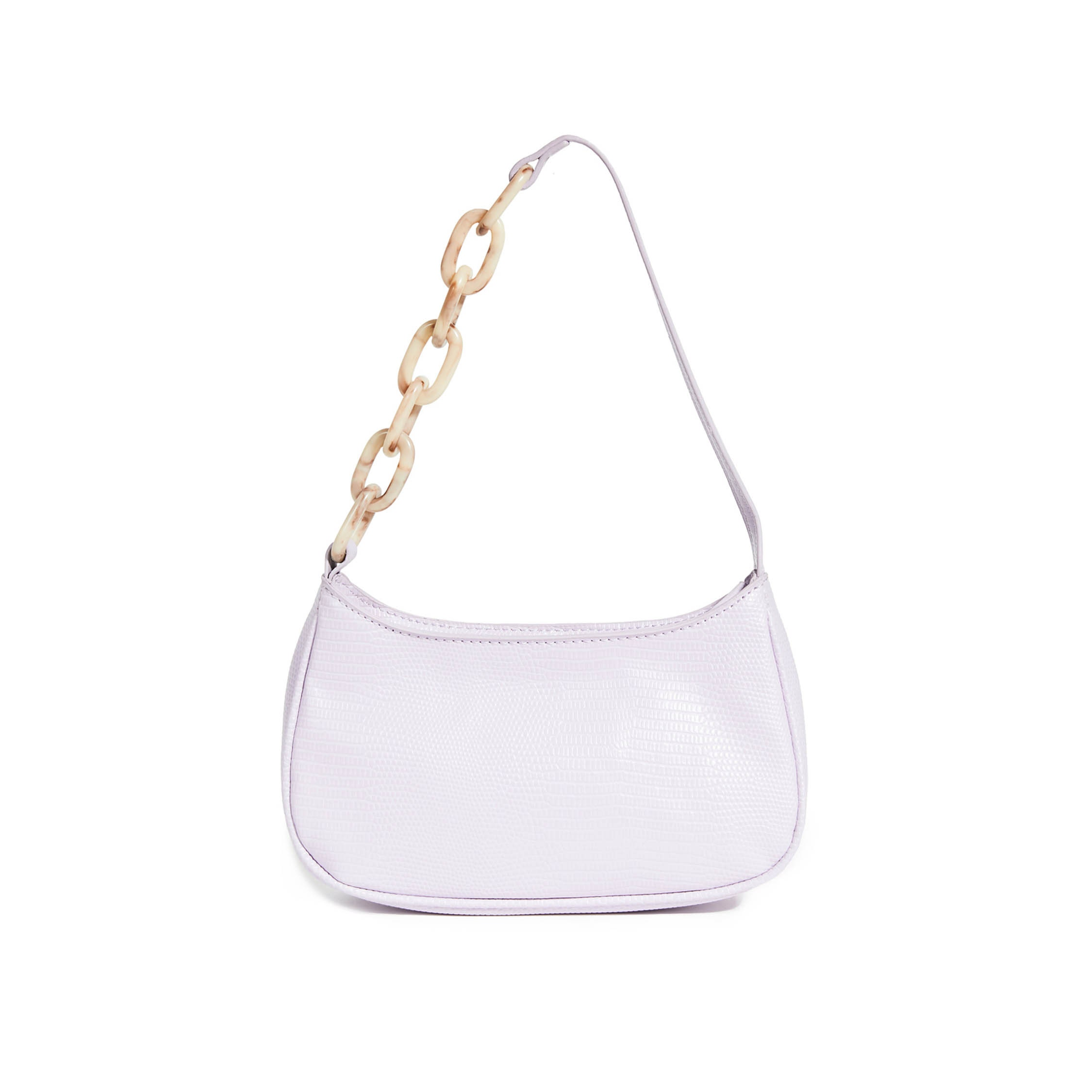 lilac baguette bag with chain detail