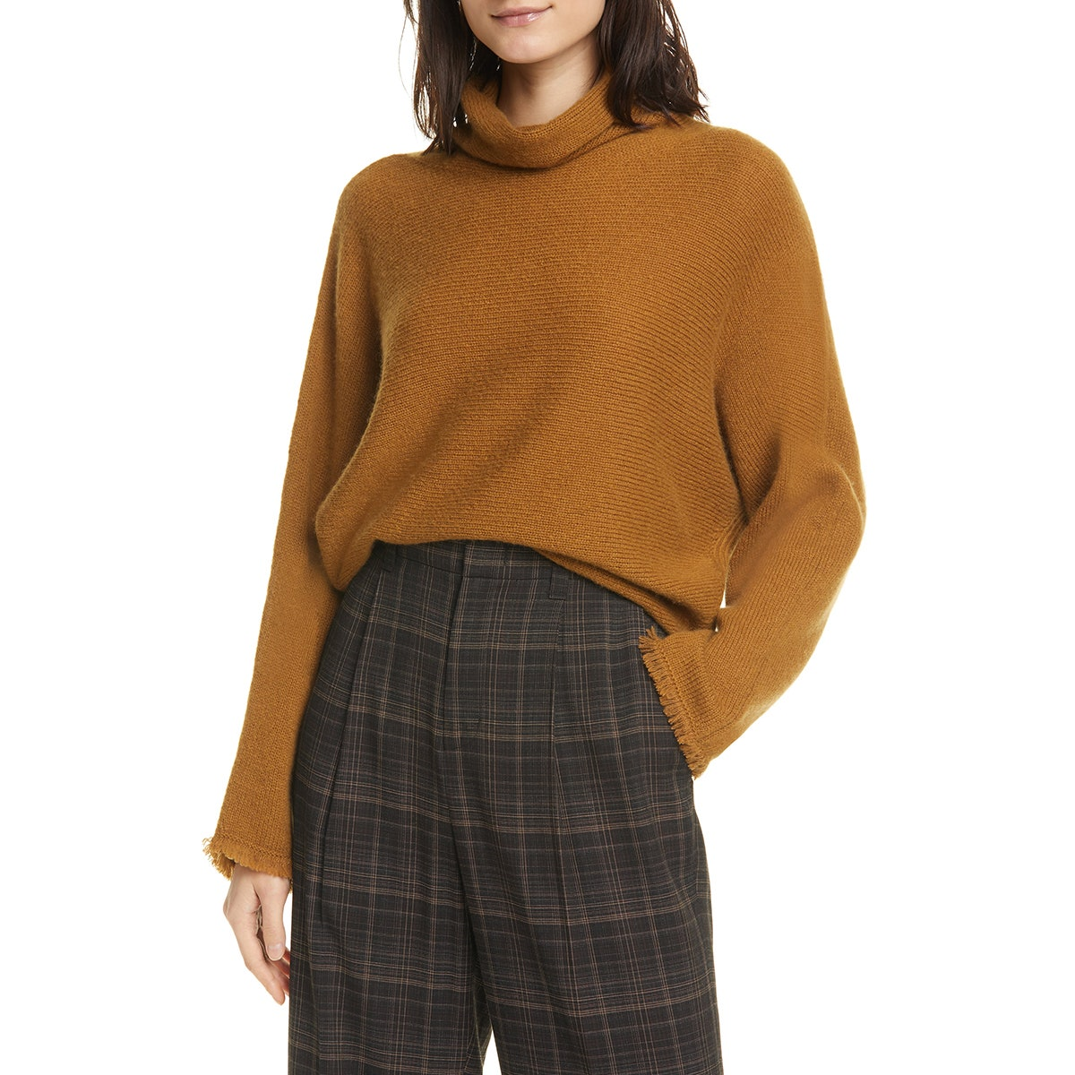mustard vince sweater with fringe sleeves