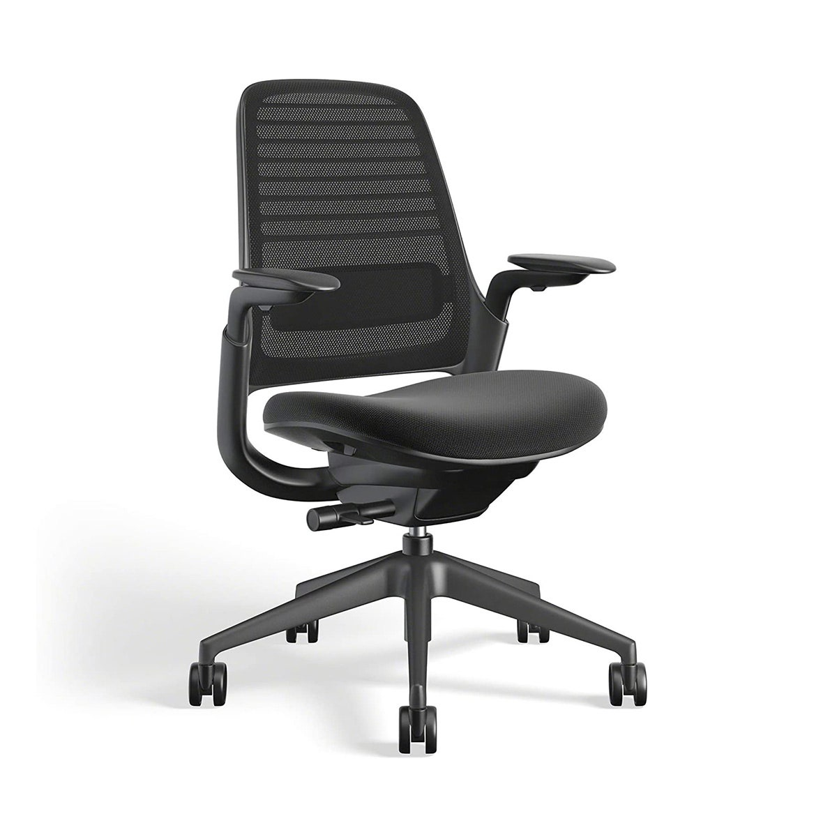 black office chair with wheels and mesh back
