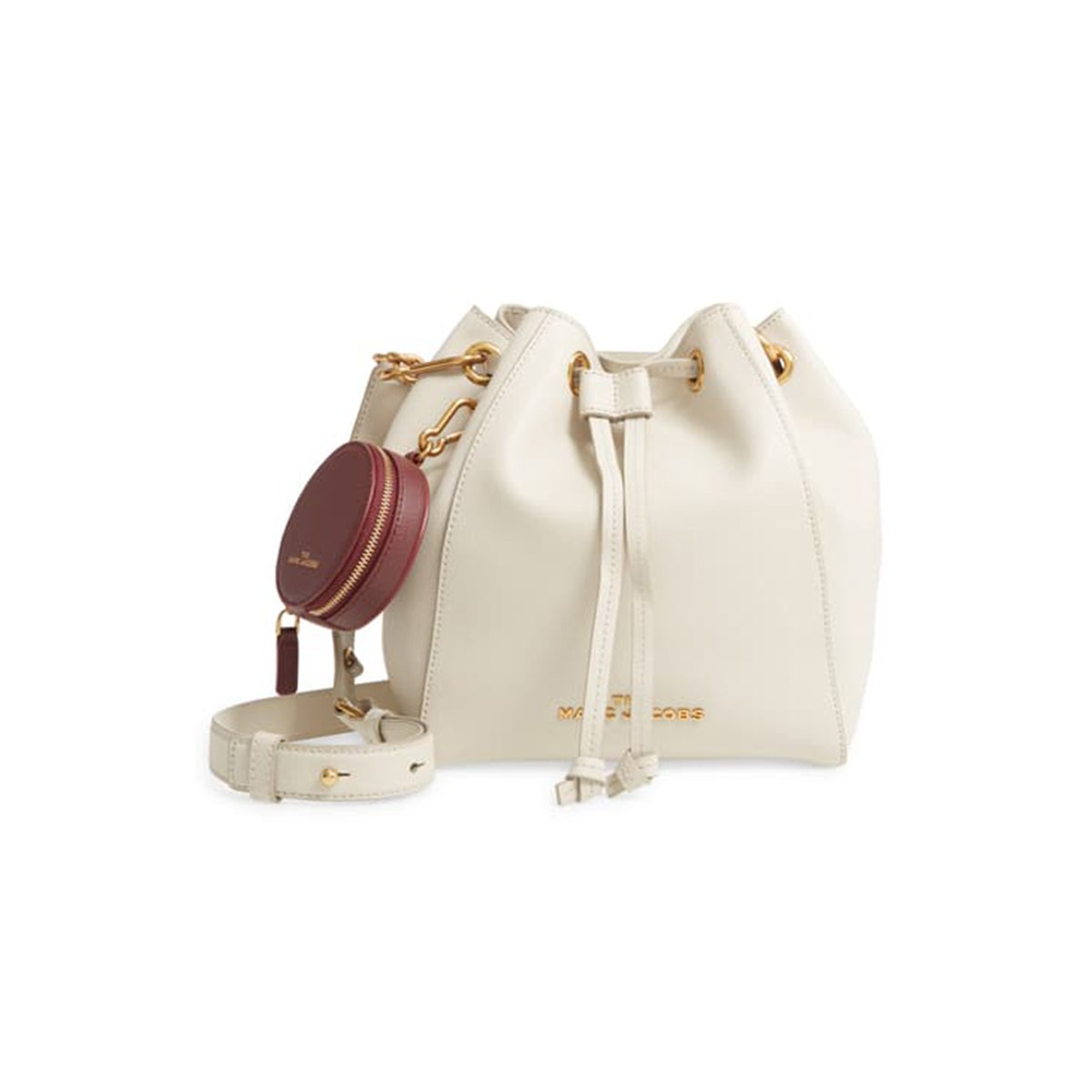 the marc jacobs white crossbody leather bucket bag