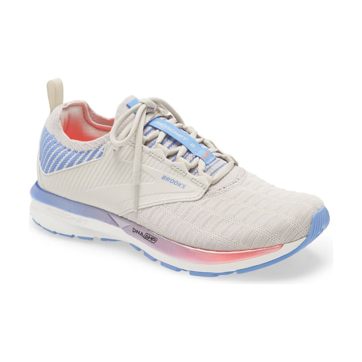 gray running shoe with blue and pink