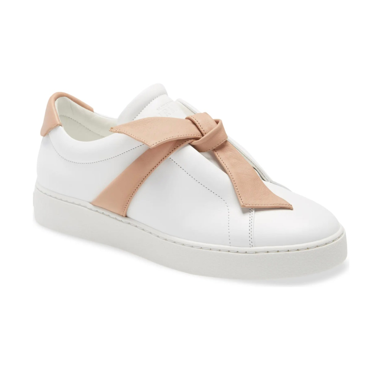 alexandre birman white leather sneakers with bow