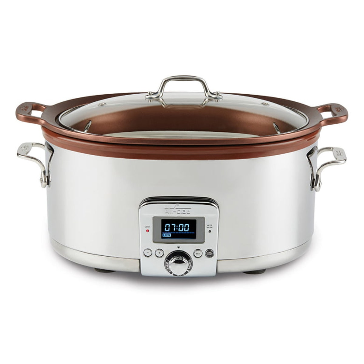silver and brown all-clad gourmet slow cooker